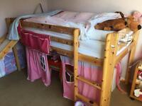 Solid Oak children's bed with a slide