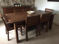 Marks & Spencer's solid oak dark Sonoma table and 6 chairs