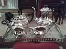 excellent vintage silver plated tea and coffee set