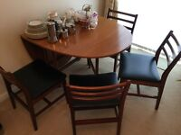 TEAK OVAL DROP LEAF TABLE WITH 4 X CHAIRS