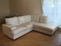 Designer Cream Leather Corner Sofa