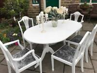 Dining Table & 6 Chairs ~ Extending ~ Seats 8 ~ SILVER GREY CRUSHED VELVET SEATS