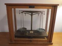 Vintage Antique Griffin & George Ltd laboratory scientific chemist scales in wood and glass case