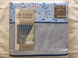 "Nautical Nursery Blackout Pencil Pleat Curtains with tie backs - 168cm x137cm - 66"" x 54"""