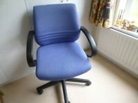 Swivel Chair suitable for desk /PC - Blue upholstery very comfortable.