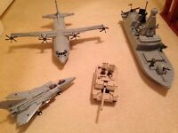 LEGO STYLE H.M ARMED FORCES 2 x PLANES, 1 x SHIP AND 1 TANK
