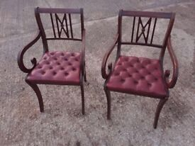 Pair of chesterfield style armchairs