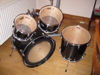 Yamaha Stage Custom Birch drum kit, Dark green shells, 5 drums, no hardware, good condition
