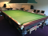 Full size Snooker Table, Cues, Balls, Riley vintage Score Board and Lamp