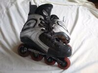 Roller hockey kit- skates, stick, knee pads, gloves, shoulder pads and bag.