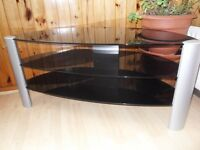 TELEVISION TABLE GLASS USED BUT IN EXCELLENT CONDITION