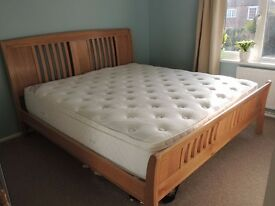 Superking Solid Oak bed frame & mattress both in perfect condition