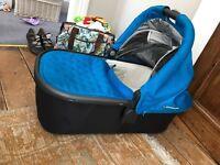 UppaBaby Vista CarryCot, bassinet organic mattress sheets rain cover, box unopened original mattress