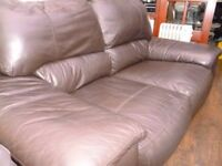 TWO SEATER BROWN LEATHER SOFA, FOR COLLECTION ASAP