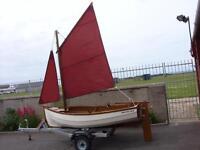 wooden sailing dinghy clinker built and trailer