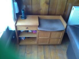 Console and coffee tables. Telephone table with seat.