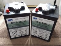2, 6 volt 180 Ah Gel batteries