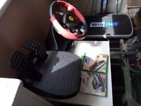 Xbox one steering wheel,pedals & games