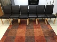 6 Next dining chairs brown leather