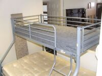 Metal framed high sleeper bed double and single