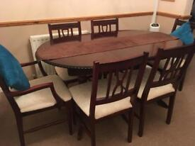 Solid mahogany dining table and chairs