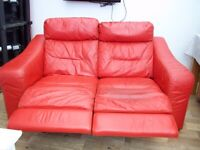 2 x 2 seater red leather recliner sofas