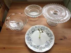 Selection of vintage cake stands perfect for weddings