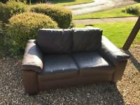 Brown leather two seater sofa