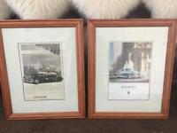 Pair of large vintage car Pictures