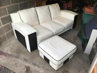 Leather 3 Seater sofa & Footstool - CAN DELIVER - £100