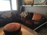 Brown leather/material couch