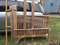 Solid wooden double bed frame