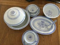 Large lidded serving tureen & bowl, serving plate, 3 side plates, 2 rice bowls and 3 rice spoons.