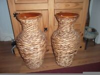 Two rattern and ceramic vases