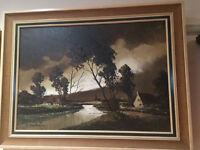 """Delightful """"Dutch River Scene"""" Signed By F Van Beeck, Oil On Canvas"""