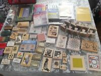 large bundle 54 of wooden mounted rubber stamps cards and ink pads for card making. All new