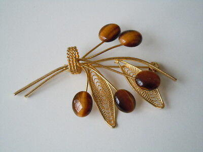 Goldfarbene Modeschmuck Blatt Brosche 5 x Tigerauge 6,7 g / 6,3 x 4,1 cm