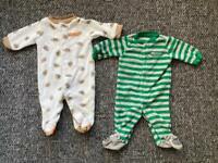 Carter's Newborn Baby Sleepsuits x2