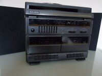 HI FI STACK WITH TURNTABLE AND SPEAKERS