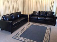 Black Leather Suite 2 x 3 Seater Sofas - New Ex Display