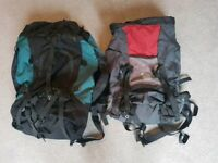 Freedom Trail 75L and Gelert 55L Hiking bags