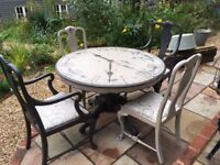 Vintage Upcycled Round Clock Face Painted Circular Dining Table and 4 Chairs Annie Sloan Shabby Chic