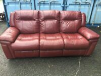 Real Leather Recliner Sofa Possible Delivery