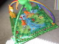 Fisher Price Baby Rainforest Deluxe Playmat Jungle Music Lights Activity Gym