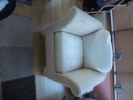 used M&S cream rattan armchair