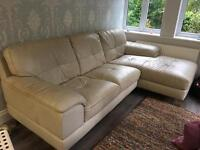 Cream leather right hand corner chaise