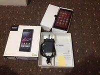 Sony Xperia Z1 4G unlocked, 5 inch display, Waterproof, 21MP camera, boxed and unused headphones