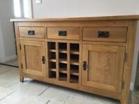 Solid Oak Sideboard with wine rack