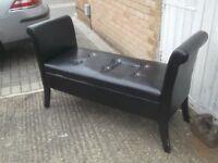 window bench antique style black vinyl covering £39