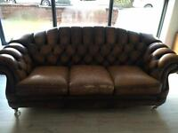 3 seater brown chesterfield